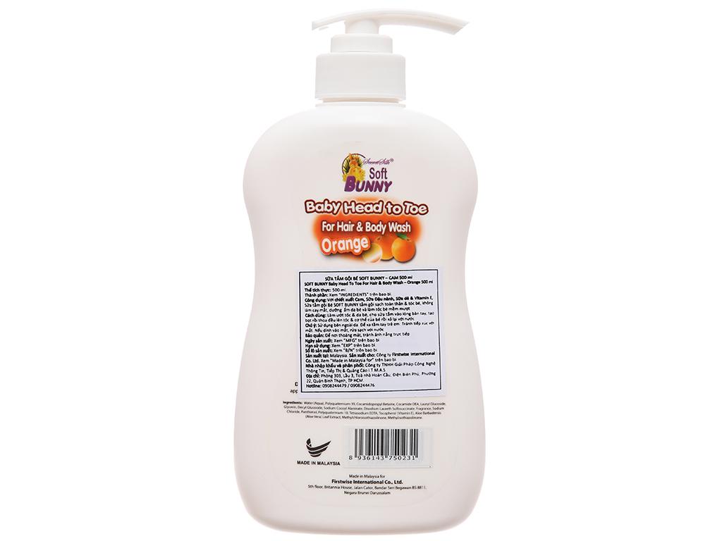 Tắm gội cho bé Soft Bunny cam & sữa dê 500ml 3