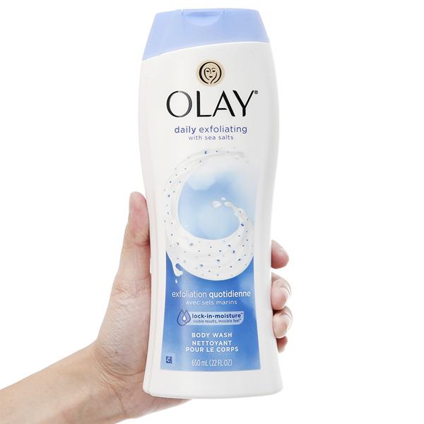 Sữa tắm tẩy tế bào chết Olay Daily Exfoliating hương muối biển 650ml