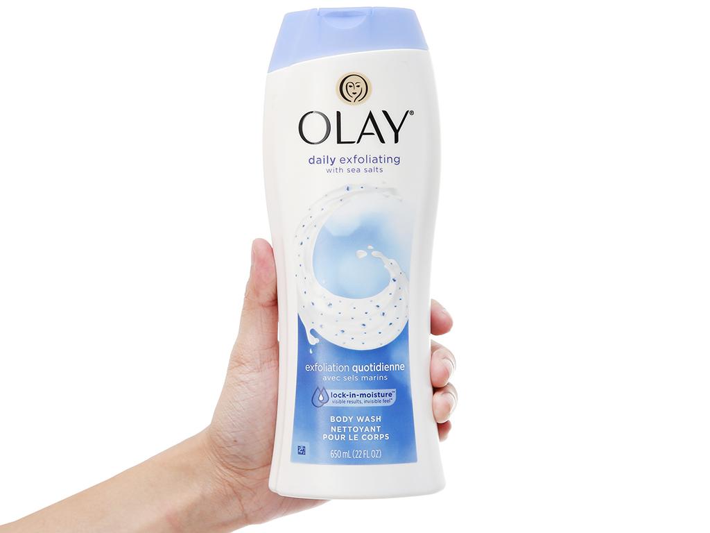Sữa tắm tẩy tế bào chết Olay Daily Exfoliating hương muối biển 650ml 4