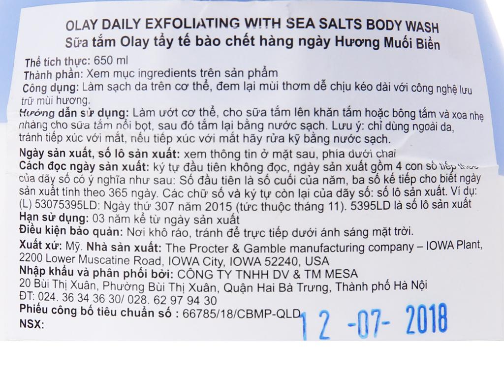 Sữa tắm tẩy tế bào chết Olay hương muối biển 650ml 6