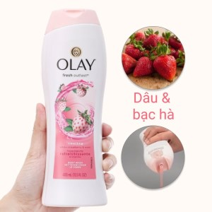 Sữa tắm Olay Cooling White hương dâu và bạc hà 400ml