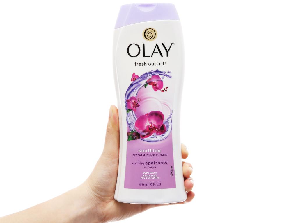 Sữa tắm Olay dưỡng ẩm hương hoa lan và quả lý chua lê 650ml 9