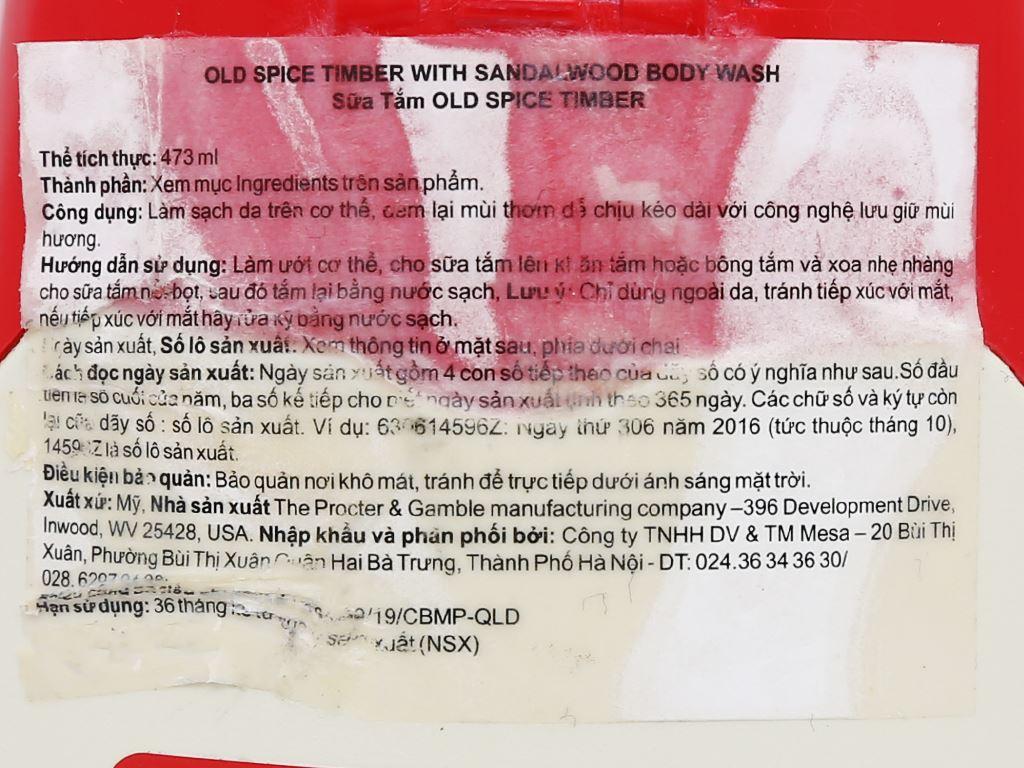 Sữa tắm Old Spice Timber Sandalwood 473ml 7