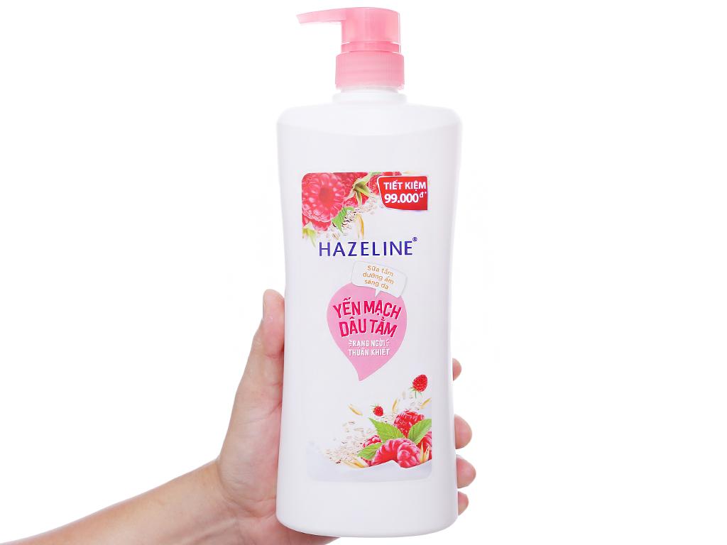 Sữa tắm dưỡng ẩm sáng da Hazeline yến mạch dâu tằm 896ml 3