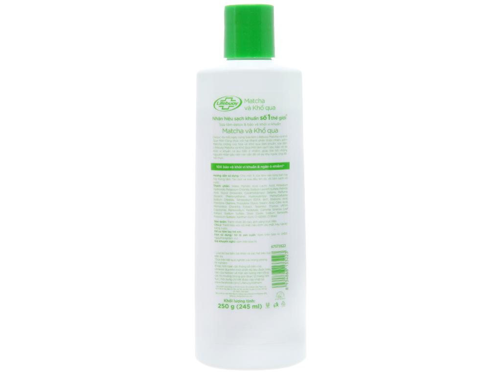 Sữa tắm Detox bảo vệ khỏi vi khuẩn Lifebuoy Matcha và khổ qua 250g 2