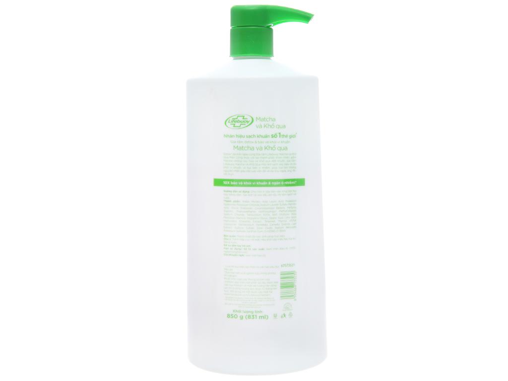 Sữa tắm detox bảo vệ khỏi vi khuẩn Lifebuoy Matcha và khổ qua 831ml 3