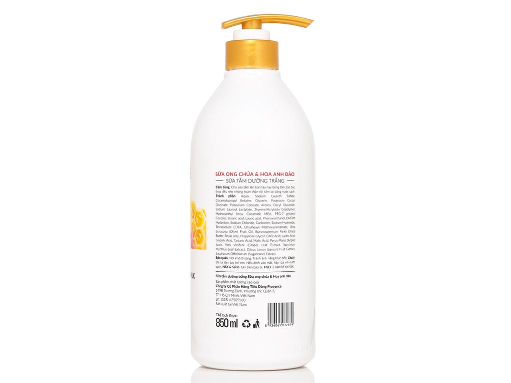 Sữa tắm dưỡng trắng Purité sữa ong chúa và hoa anh đào 850ml 2