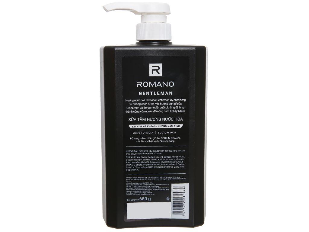 Sữa tắm nước hoa Romano Gentleman sạch sảng khoái 650g 2