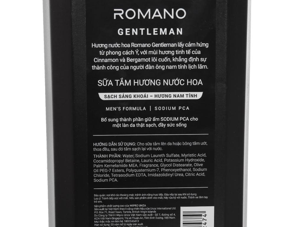 Sữa tắm nước hoa Romano Gentleman sạch sảng khoái 650g 3
