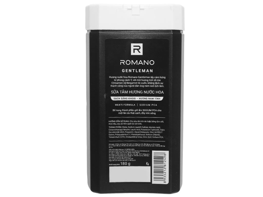 Sữa tắm nước hoa Romano Gentleman sạch sảng khoái 180g 2