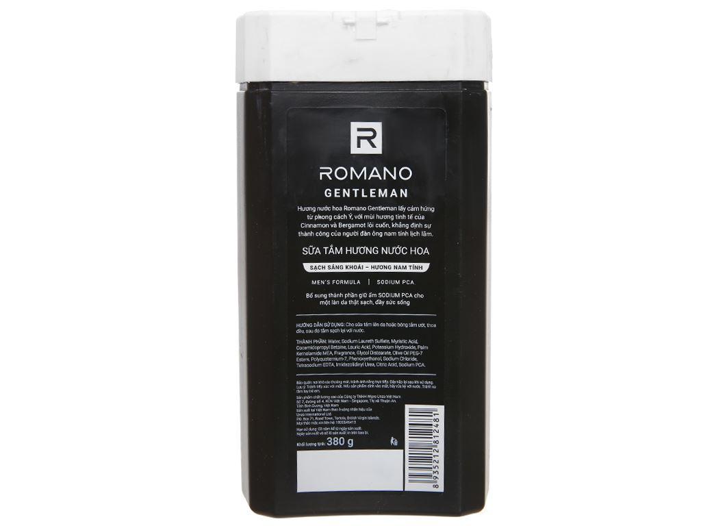 Sữa tắm nước hoa Romano Gentleman sạch sảng khoái 380g 3