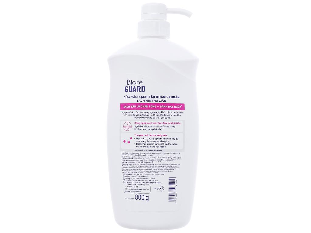 Sữa tắm sạch sâu kháng khuẩn Bioré sạch mịn thư giãn 800g 2