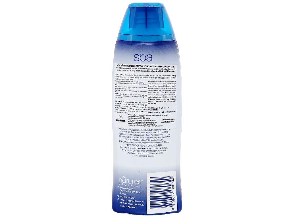 Sữa tắm Spa Men's Energising Aqua Fresh Organic Care 400ml 2
