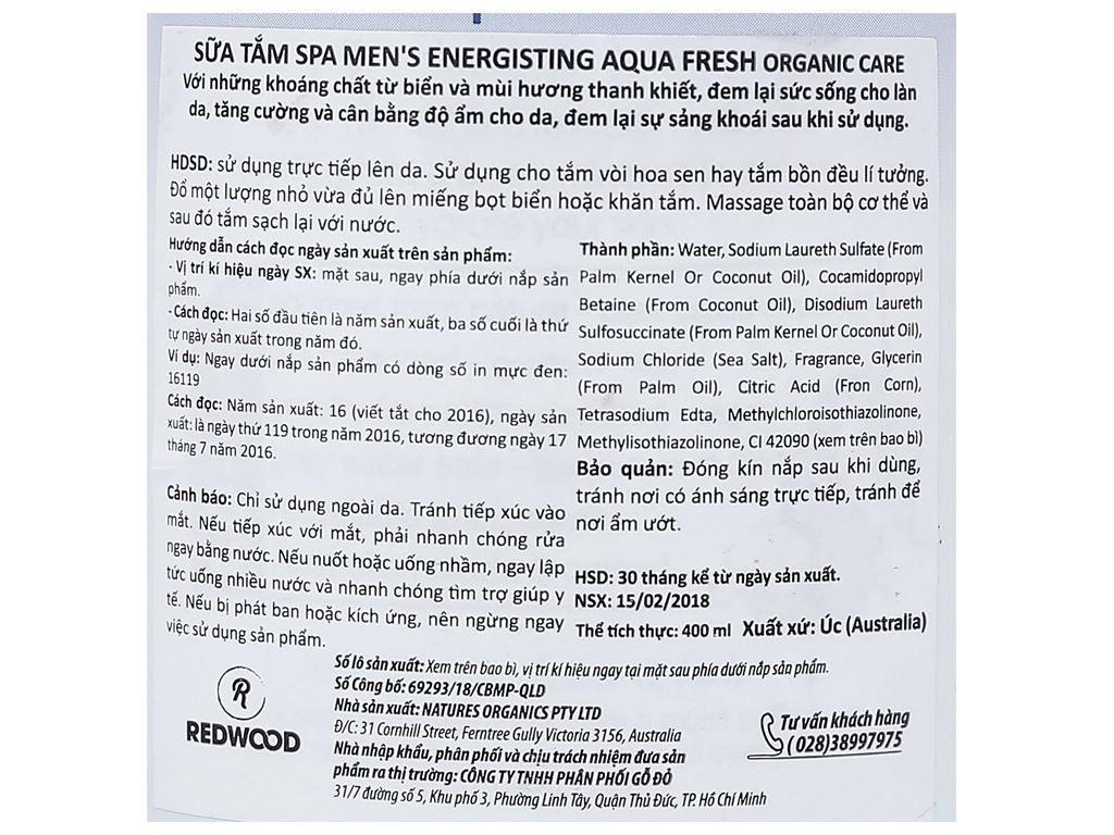 Sữa tắm Spa Men's Energising Aqua Fresh Organic Care 400ml 4