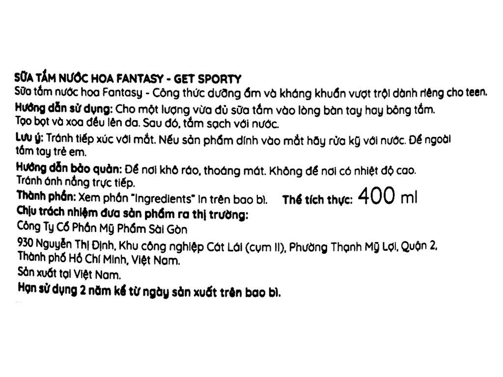 Sữa tắm nước hoa Fantasy Get Sporty 400ml 3