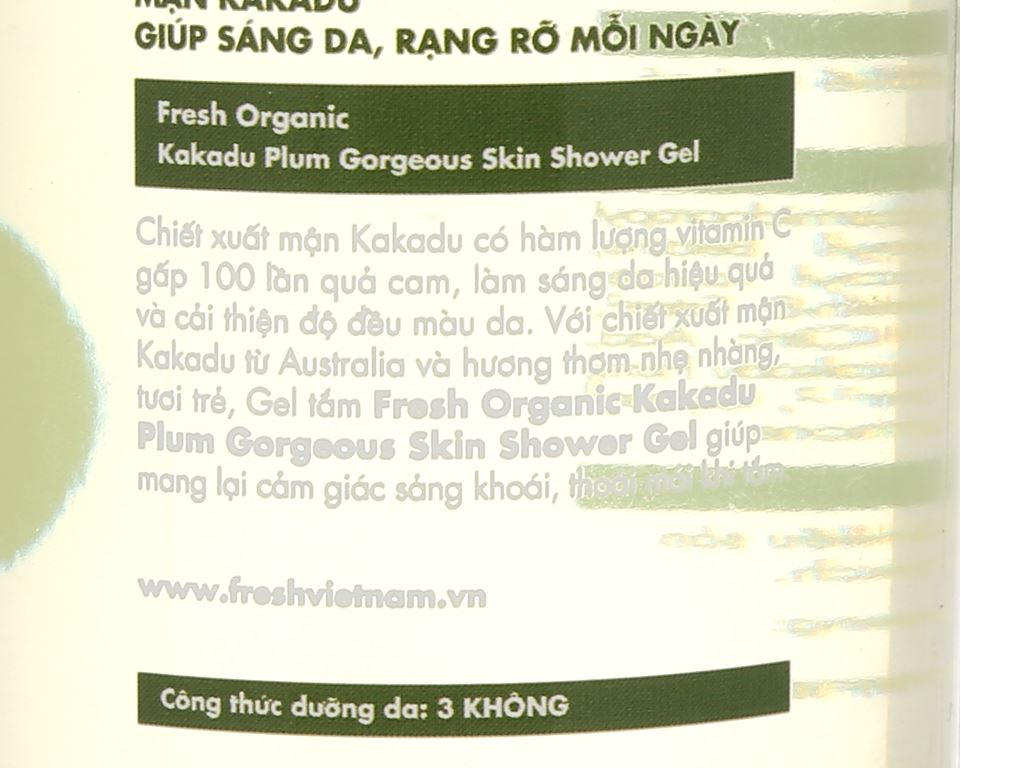 Gel tắm sáng da Fresh Organic mận Kakadu 250g 3