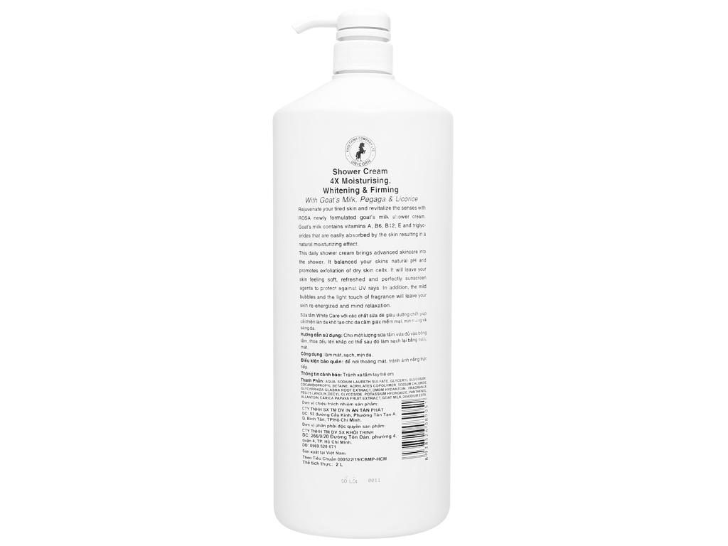 Sữa tắm Unicorn White Care tinh chất sữa dê 2 lít 2