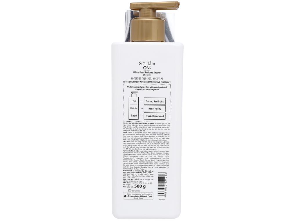 Sữa tắm dưỡng trắng ON THE BODY hương nước hoa 500g 2