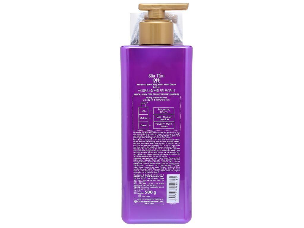 Sữa tắm dưỡng ẩm ON THE BODY hương nước hoa sang trọng quyến rũ 500g 2