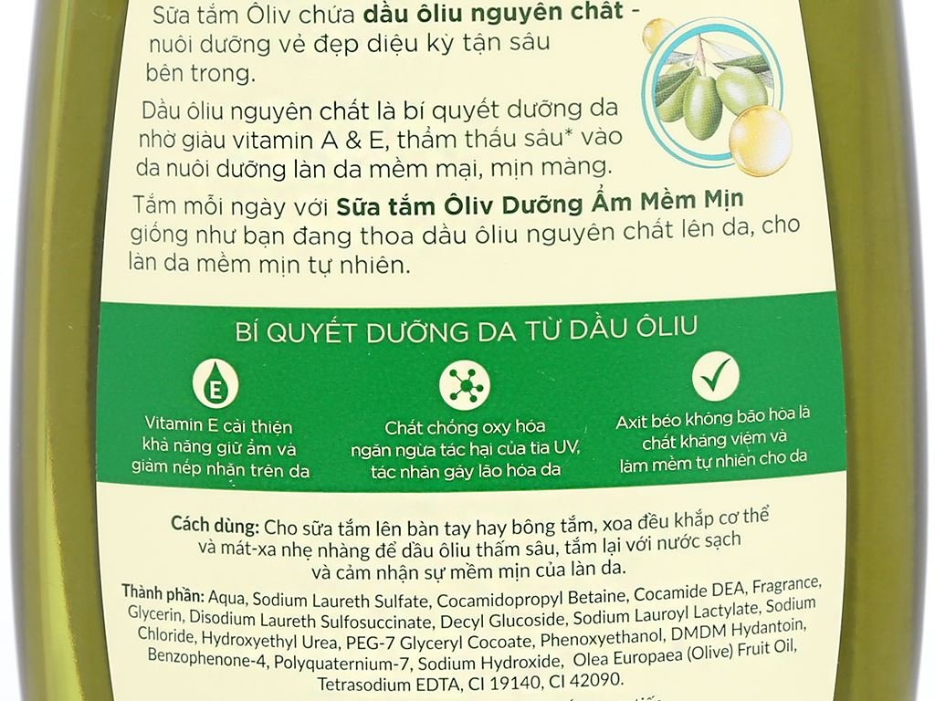 Sữa tắm ôliu Ôliv dưỡng ẩm mềm mịn 1 lít 3