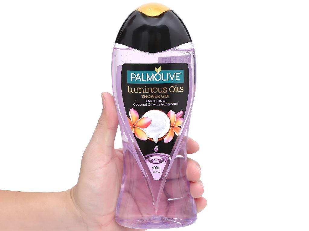 Dầu tắm dưỡng ẩm Palmolive tinh dầu dừa và hương hoa sứ 400ml 4