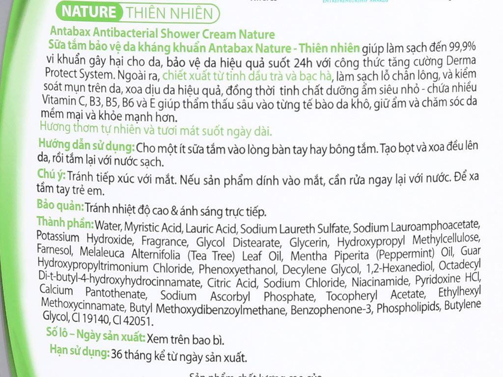 Sữa tắm bảo vệ da kháng khuẩn Antabax Nature thiên nhiên 900ml 3