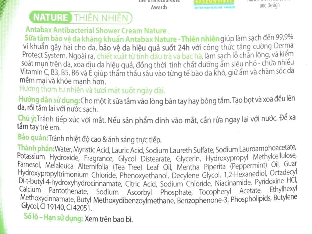 Sữa tắm bảo vệ da kháng khuẩn Antabax Nature thiên nhiên 220ml 3