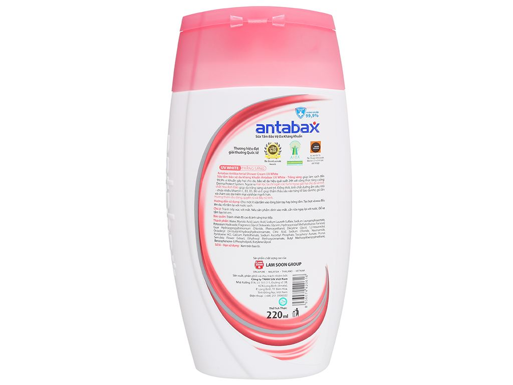 Sữa tắm bảo vệ da kháng khuẩn Antabax UV White trắng sáng 220ml 2