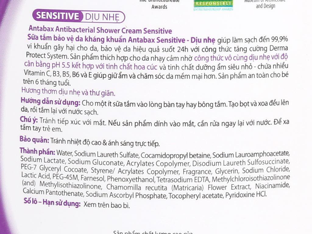 Sữa tắm bảo vệ da kháng khuẩn Antabax Sensitive cho da nhạy cảm 220ml 3