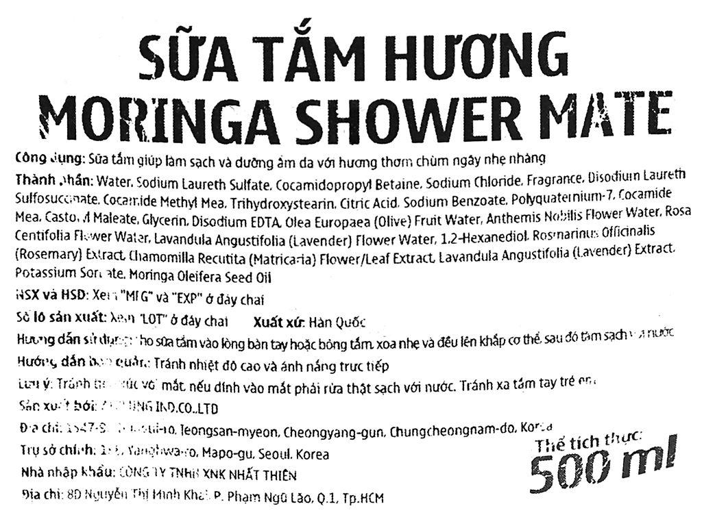 Sữa tắm Shower Mate hương moringa 500ml 3