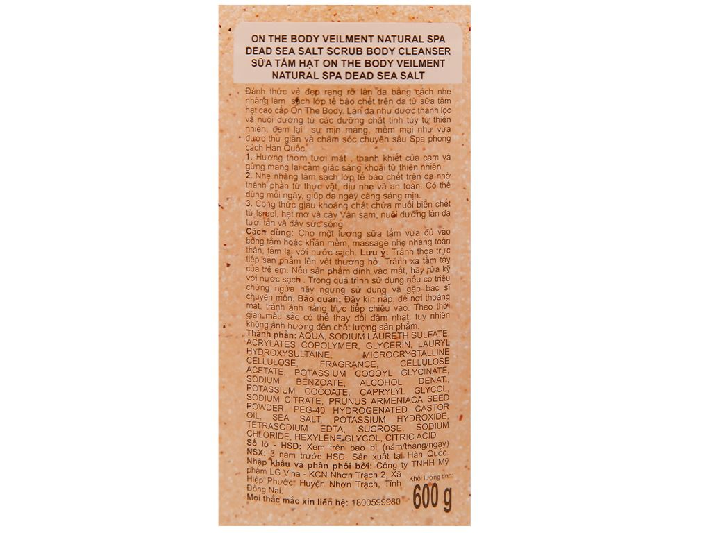 Sữa tắm hạt ON THE BODY Veilment Spa Deadsea Salt 600g 3