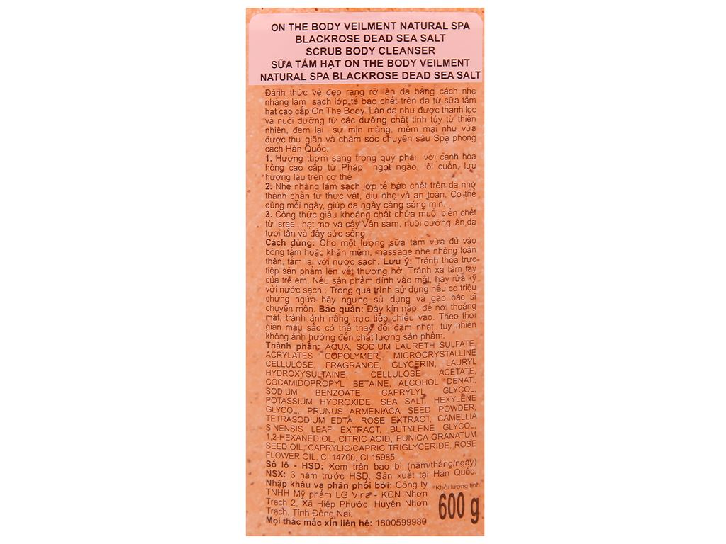 Sữa tắm hạt ON THE BODY Veilment Spa Blackrose 600g 3
