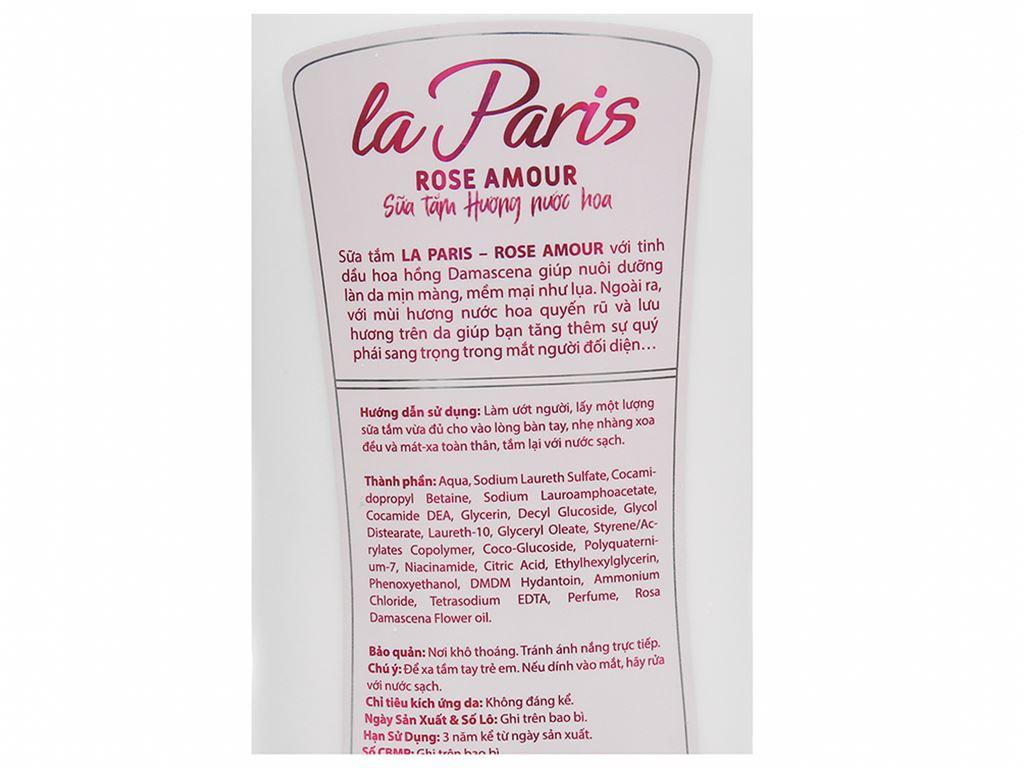 Sữa tắm la Paris Rose Amour tinh chất hoa hồng 1.2 lít 4