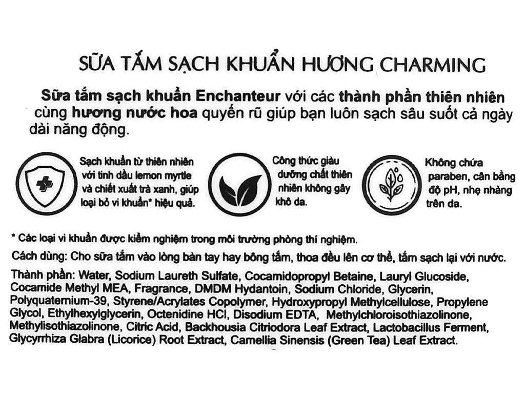Sữa tắm sạch khuẩn Enchanteur Charming 650g 4