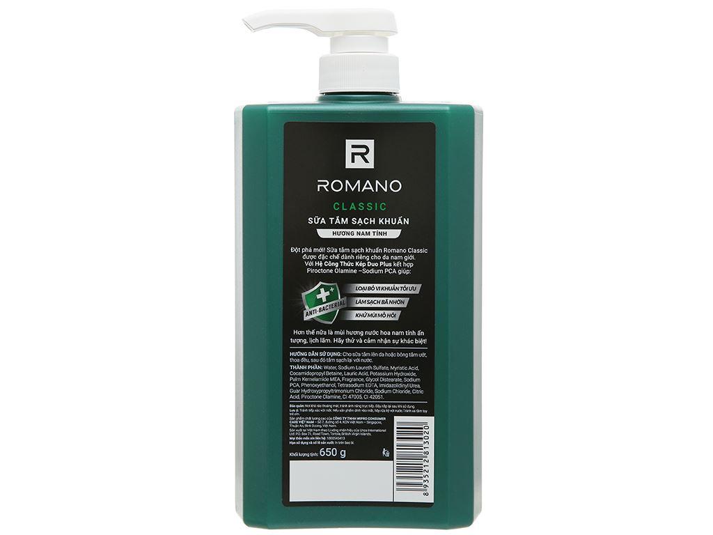 Sữa tắm sạch khuẩn Romano Classic 650g 2