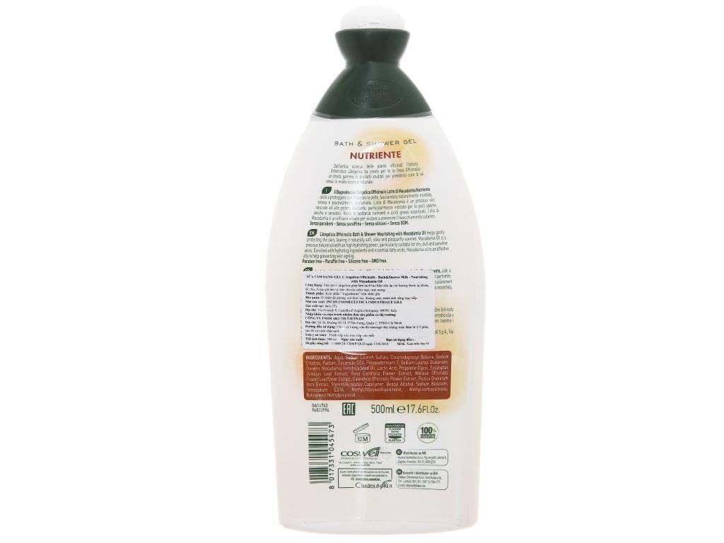 Sữa tắm L'Angelica Macadimia Oil 500ml 2