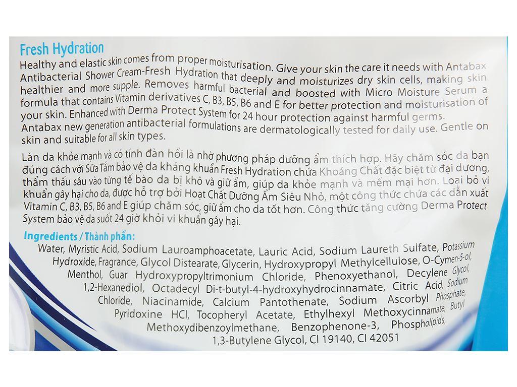 Sữa tắm Antabax sảng khoái (Fresh Hydration) túi 850ml 3