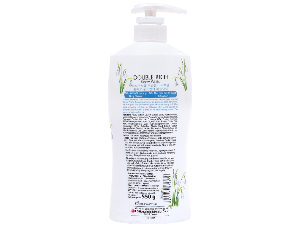 Sữa tắm hoa xuyên tuyết trắng mịn Double Rich Snow White 550g 3
