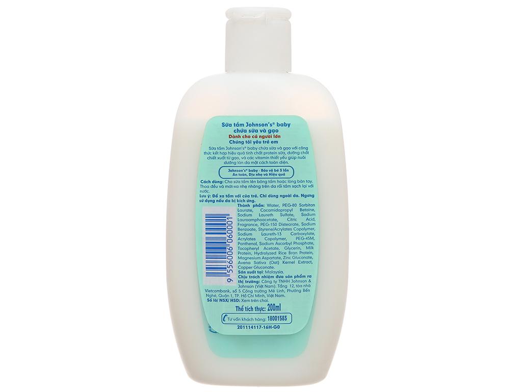 Sữa tắm Johnson's Baby chứa sữa và gạo 200ml 3