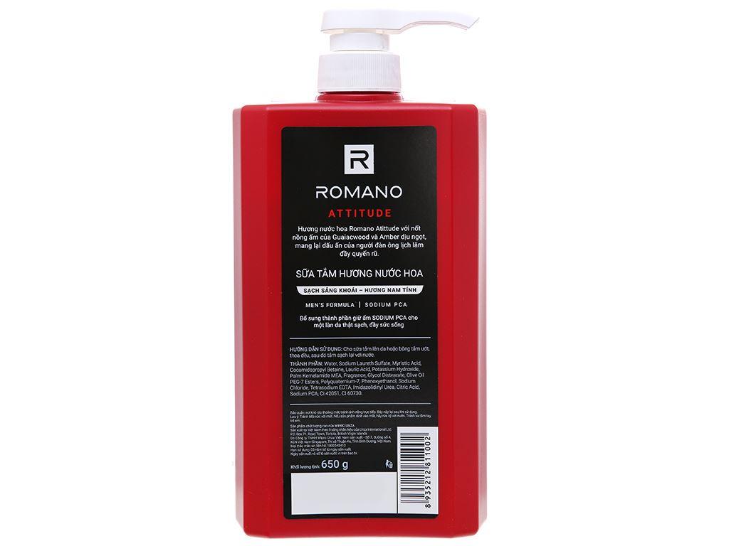 Sữa tắm nước hoa Romano Attitude sạch sảng khoái 650g 3