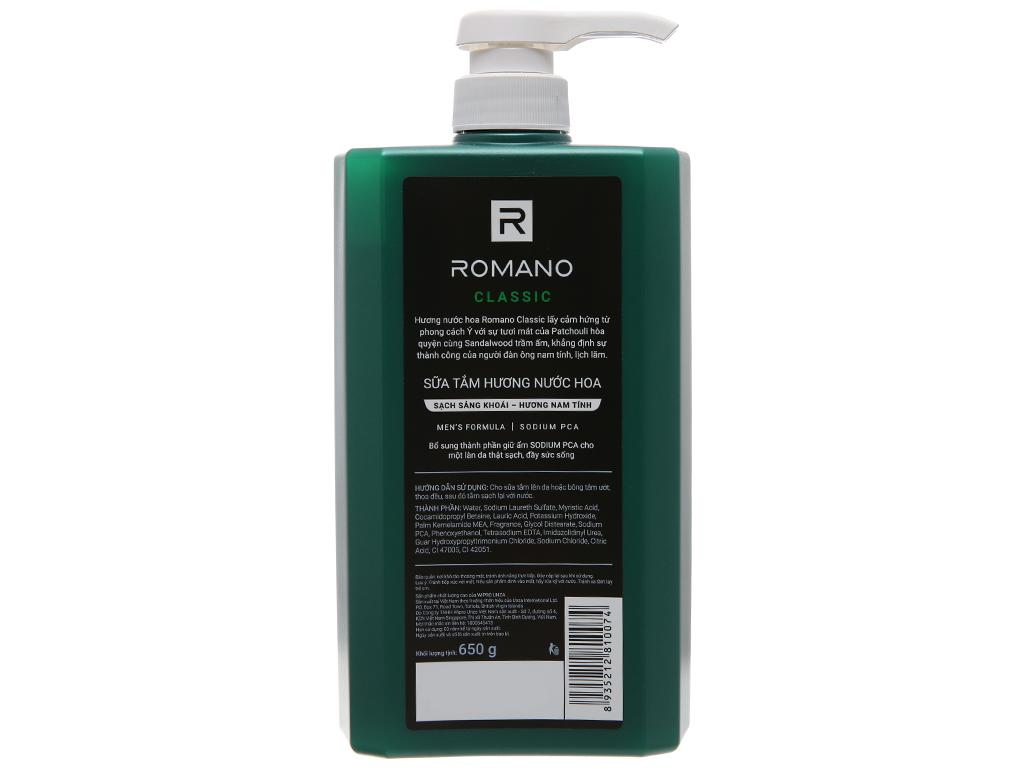 Sữa tắm Romano Classic sạch sảng khoái 650g 3