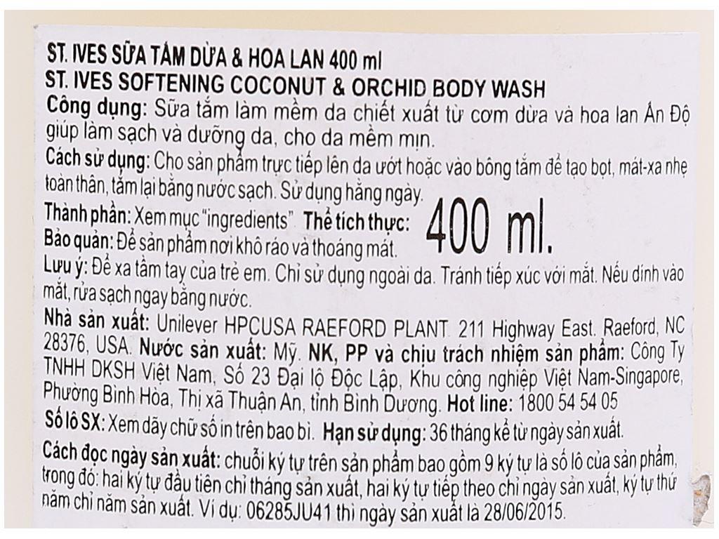 Sữa tắm ST.IVES Soft & Silky dừa và hoa lan 400ml 3