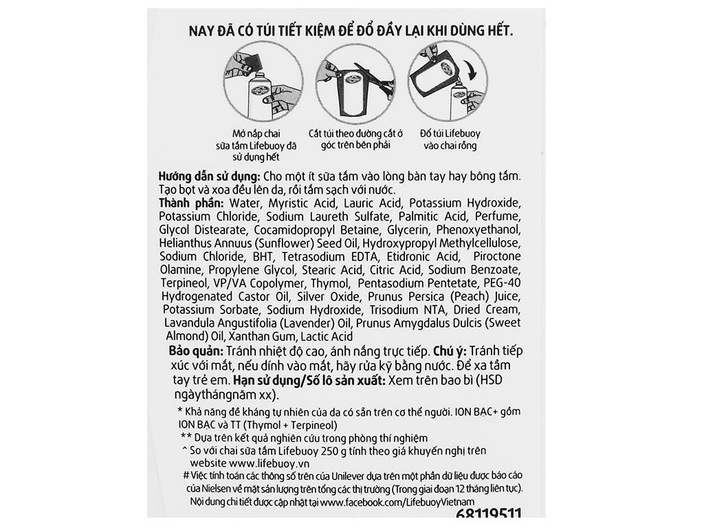Sữa tắm bảo vệ khỏi vi khuẩn Lifebuoy chăm sóc da 833ml 5