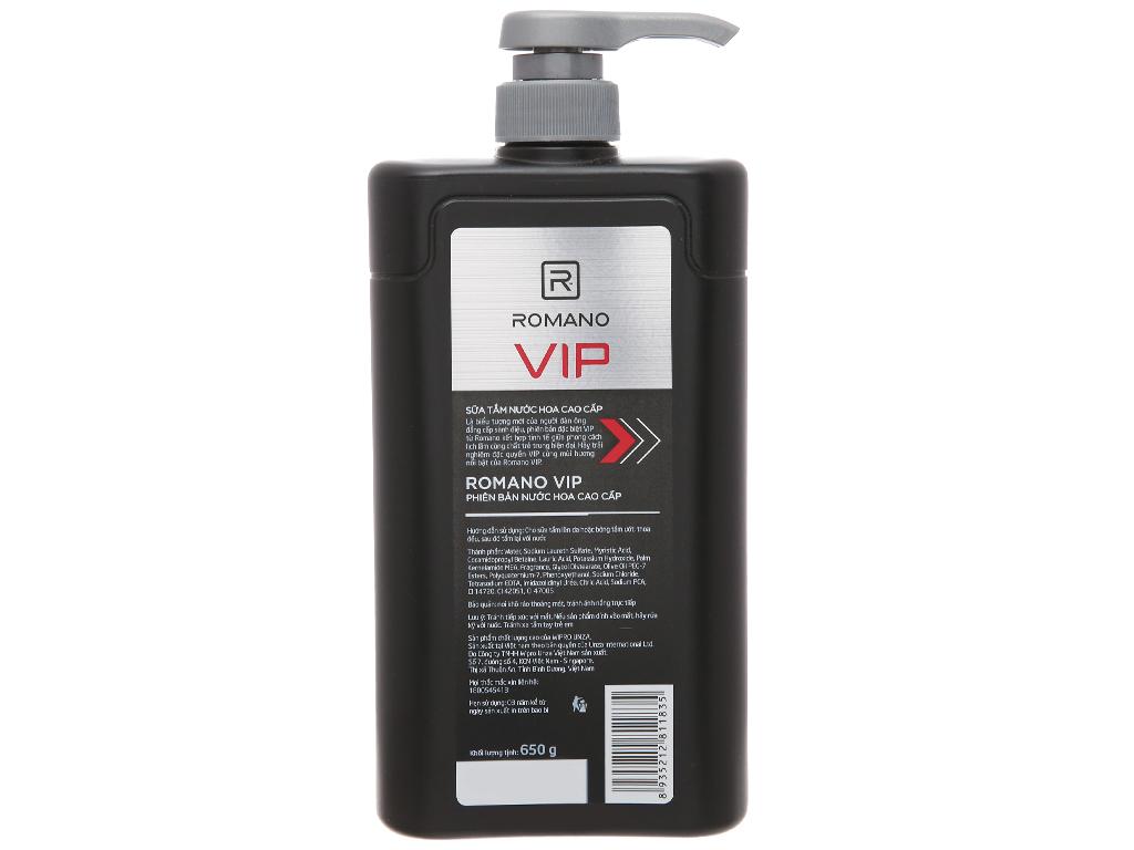 Sữa tắm nước hoa cao cấp Romano Vip 650g 3