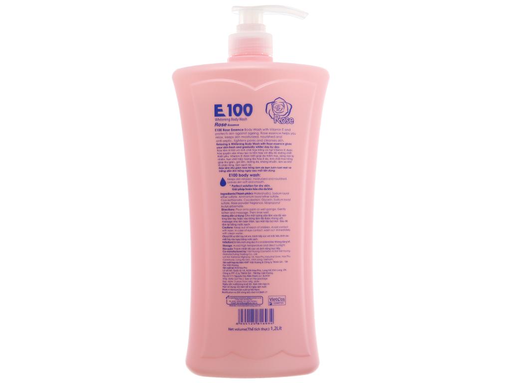Sữa tắm E100 trắng da tinh chất hoa hồng 1.2L 3