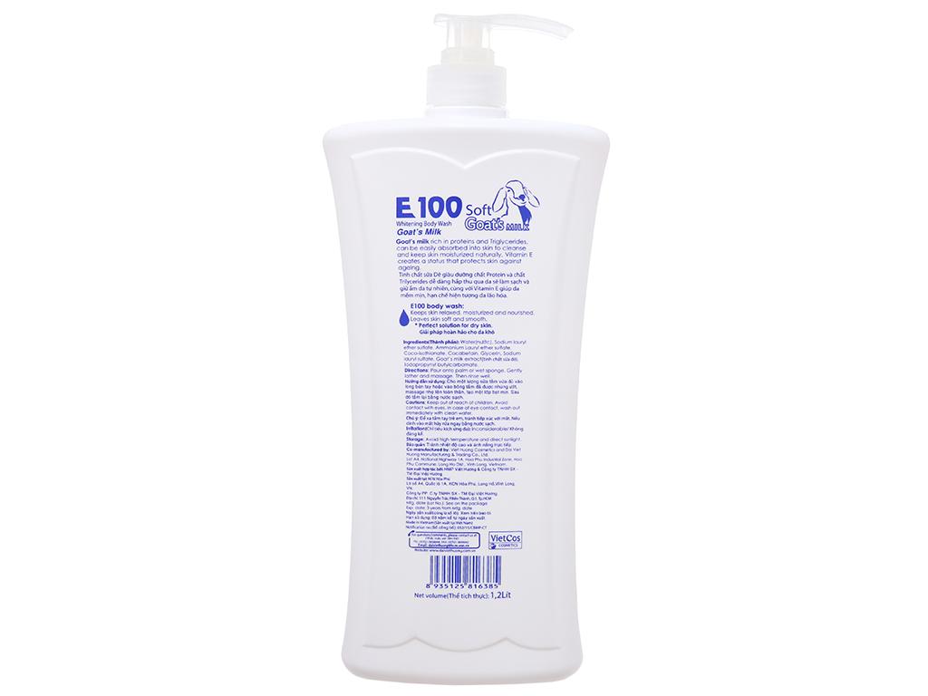 Sữa tắm trắng da E100 tinh chất sữa dê 1.2 lít 3