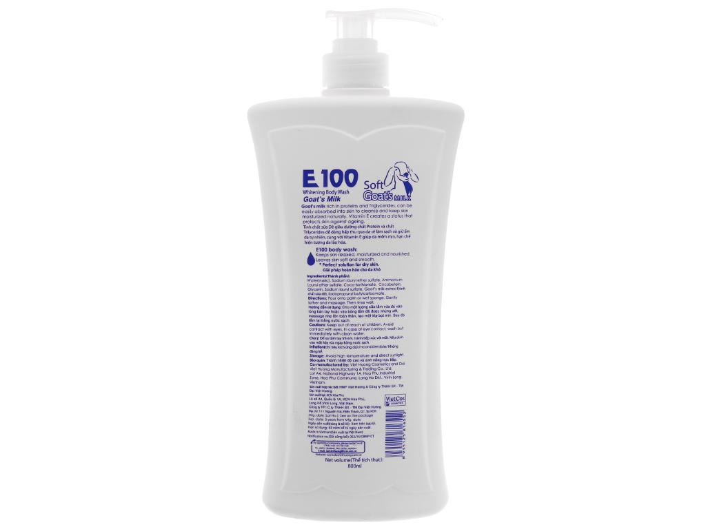 Sữa tắm trắng da E100 tinh chất sữa dê 800ml 3