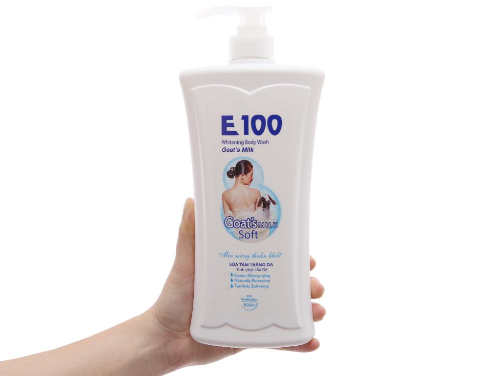 Sữa tắm trắng da E100 tinh chất sữa dê 800ml 4