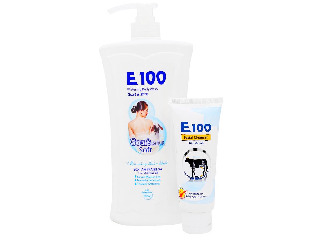 Sữa tắm trắng da E100 tinh chất sữa dê 800ml 1