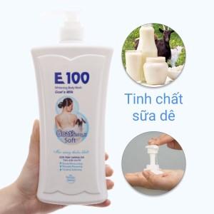 Sữa tắm trắng da E100 tinh chất sữa dê 800ml